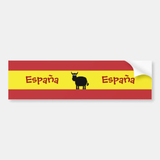 Cute Spanish Bull & Flag Bumper Sticker