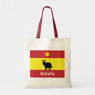 Cute Spanish Bull, Flag & Smiling Sun Tote Bag