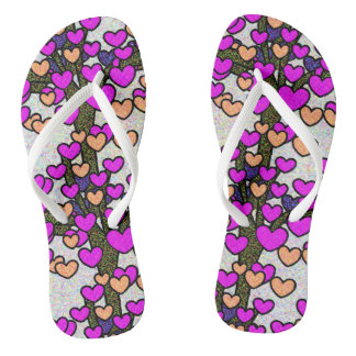 Cute Sparkly Hearts Tree Print Flip Flops