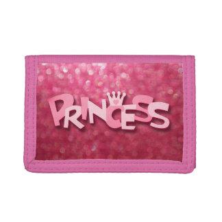 Cute Sparkly Pink Princess Bokeh Tri-fold Wallet