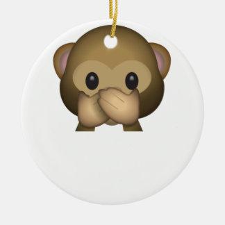 Cute Speak No Evil Monkey Emoji Ceramic Ornament
