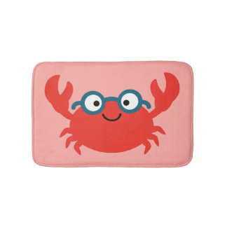 Cute Specky Crab Illustration Bath Mat