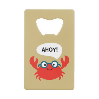 Cute Specky Crab Illustration Credit Card Bottle Opener