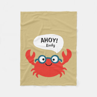Cute Specky Crab Illustration Fleece Blanket