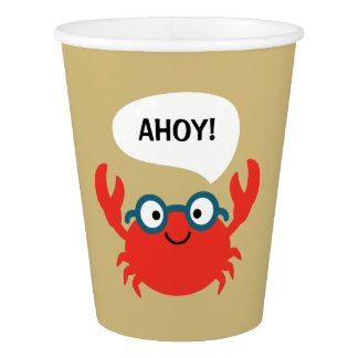 Cute Specky Crab Illustration Paper Cup