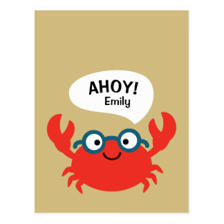 Cute Specky Crab Illustration Postcard