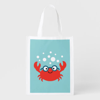 Cute Specky Crab Illustration Reusable Grocery Bag