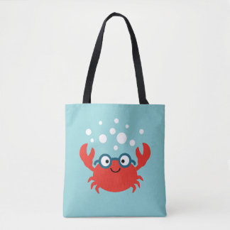 Cute Specky Crab Illustration Tote Bag