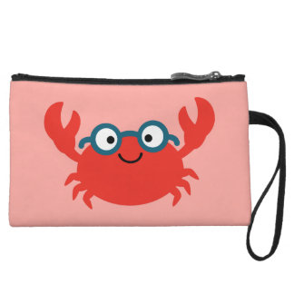 Cute Specky Crab Illustration Wristlet