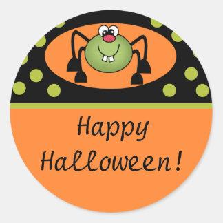 Cute Spider Happy Halloween Round Sticker