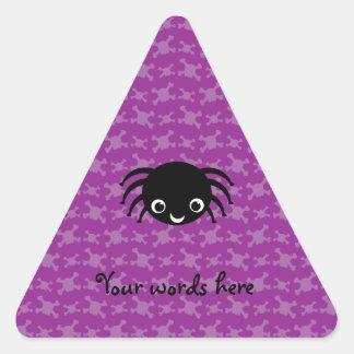 Cute spider purple skulls pattern triangle sticker