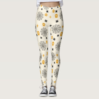 Cute Spiders Web Skulls Halloween Costume Party Leggings