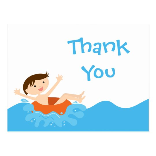 Cute splash boy's pool party thank you postcard