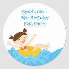Cute splash girl's pool party birthday stickers