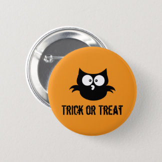Cute Spooky Halloween Trick or Treat Black Owl 2 Inch Round Button