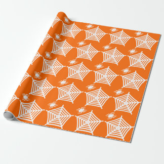 Cute Spooky White Spider and Web Halloween Wrapping Paper