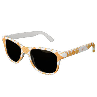Cute Sporty Orange Peach White Argyle Monogrammed Sunglasses