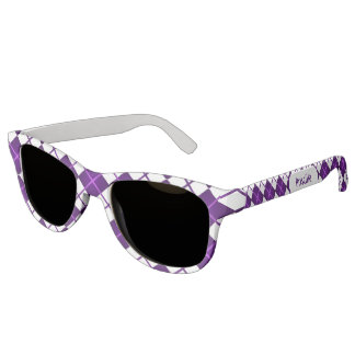 Cute Sporty Purple Grape White Argyle Monogrammed Sunglasses