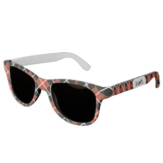 Cute Sporty Red White Black Argyle Monogram Sunglasses