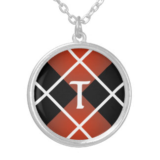 Cute Sporty Red White Black Argyle Monogrammed Silver Plated Necklace