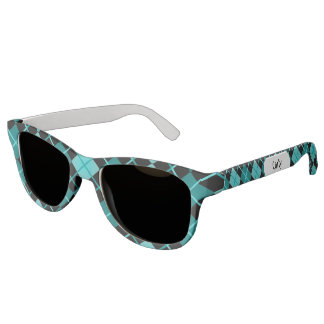 Cute Sporty Turquoise Teal Black Argyle Monogram Sunglasses