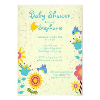 Cute Spring Birds & Flowers Baby Shower Invitation