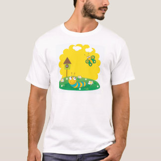 Cute spring card with caterpillar and butterfly. T-Shirt