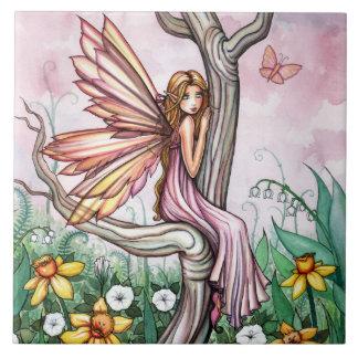Cute Spring Daffodil Fairy Fantasy Art Tile