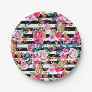Cute spring floral and stripes watercolor pattern 7 inch paper plate