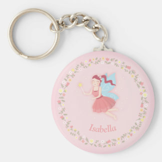 Cute Spring Floral Fairy Girl Pink Keychain