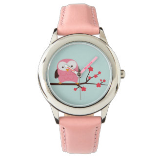 Cute Spring Pink Owl Watch