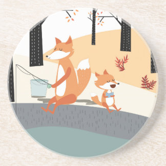 Cute spring summer baby fox and papa fishing coaster