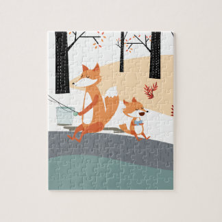 Cute spring summer baby fox and papa fishing jigsaw puzzle