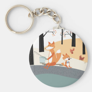 Cute spring summer baby fox and papa fishing keychain