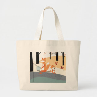 Cute spring summer baby fox and papa fishing large tote bag