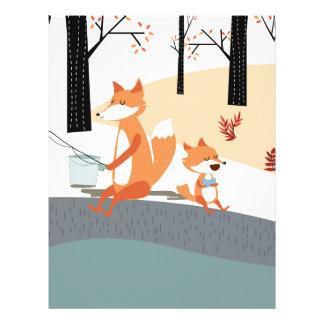 Cute spring summer baby fox and papa fishing letterhead