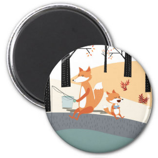 Cute spring summer baby fox and papa fishing magnet