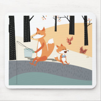 Cute spring summer baby fox and papa fishing mouse pad