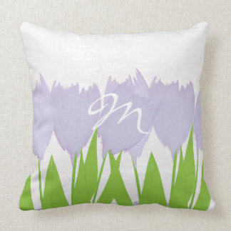 Cute Spring Tulips Watercolor Pillow
