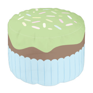 Cute Sprinkled Green Cupcake Pouf