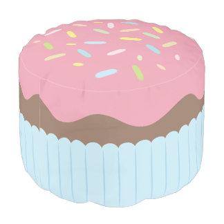 Cute Sprinkled Pastel Pink Cupcake Pouf