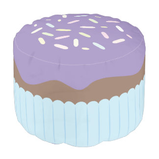Cute Sprinkled Purple Cupcake Pouf