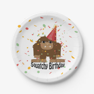 Cute Squatchy Birthday Bigfoot 7 Inch Paper Plate
