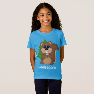 Cute Squirrel add name kids t-shirt