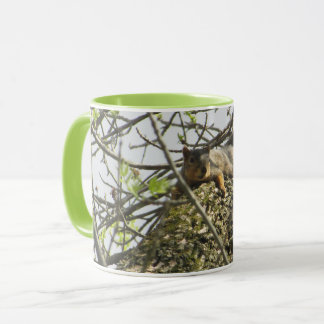 Cute Squirrel Coffee Mug with Lime Green Handle