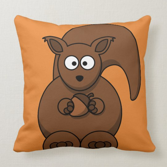 Cute Squirrel Kid's Decorative Accent Throw Pillow
