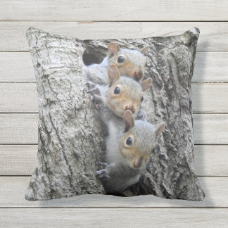 Cute Squirrels Outdoor Pillow