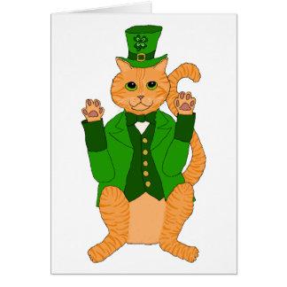 Cute St Catricks Day Funny Lucky Cat Leprechaun Card