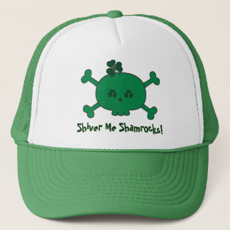 Cute St Paddy's Pirate Skull Shiver Me Shamrocks Trucker Hat