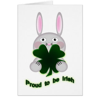 Cute St. Patricks Day Bunny Proud to be Irish Note Card